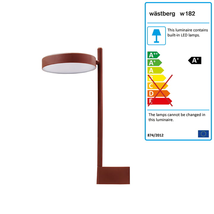 w182 Pastille LED wall light br2 from Wästberg in oxide red