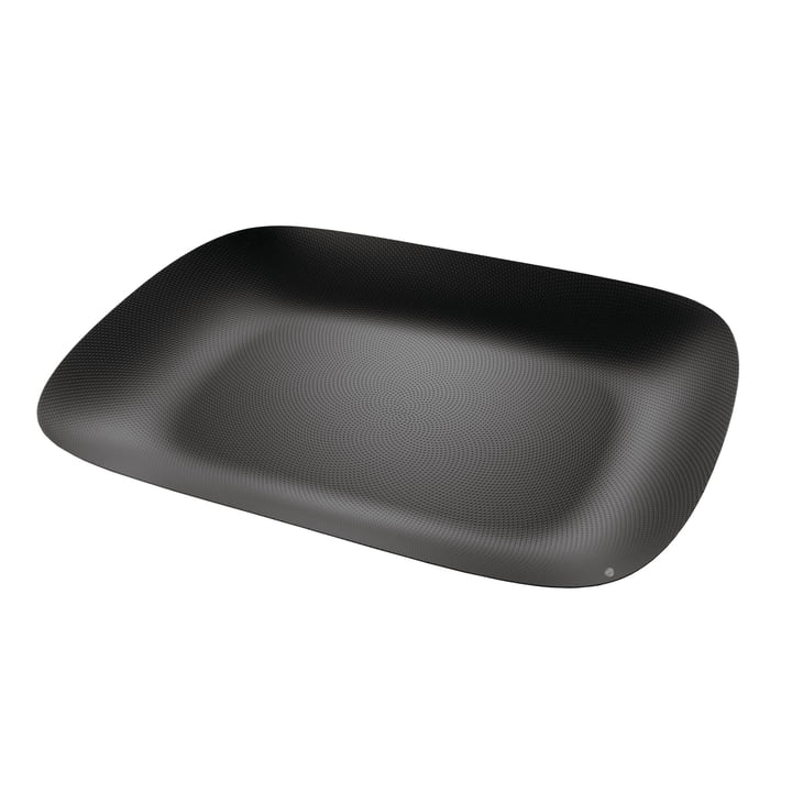 Moiré tray 45 x 34 cm by Alessi in black with relief decoration