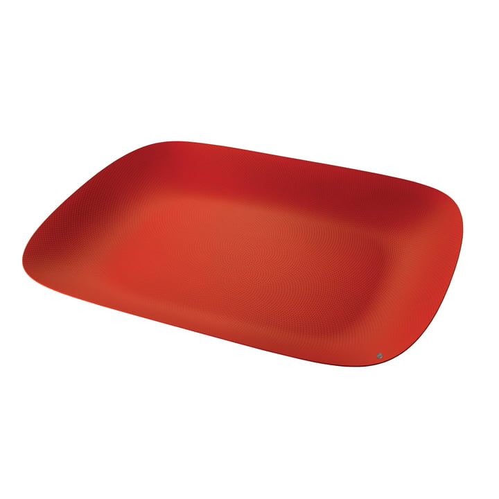 Moiré Tray 45 x 34 cm by Alessi in red with relief decoration