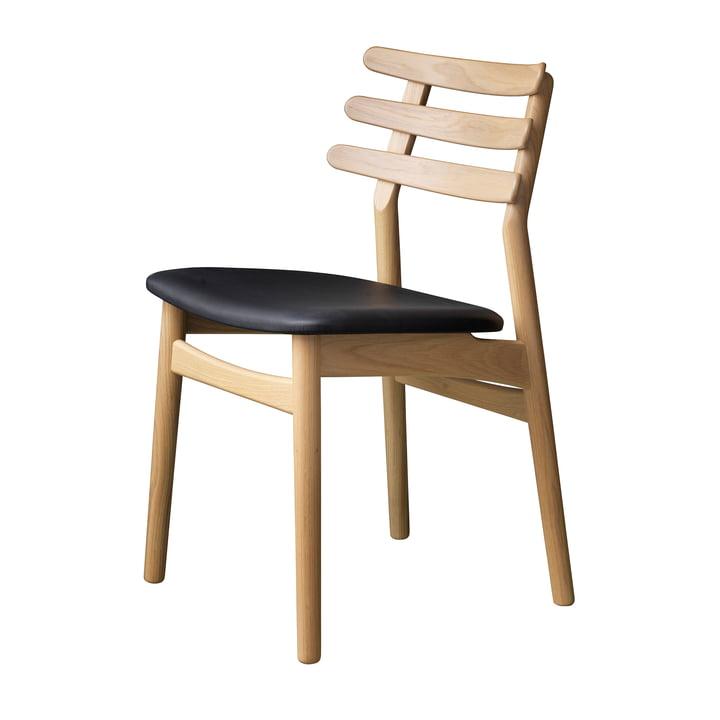 J48 chair, oak matt lacquered / black leather by FDB Møbler