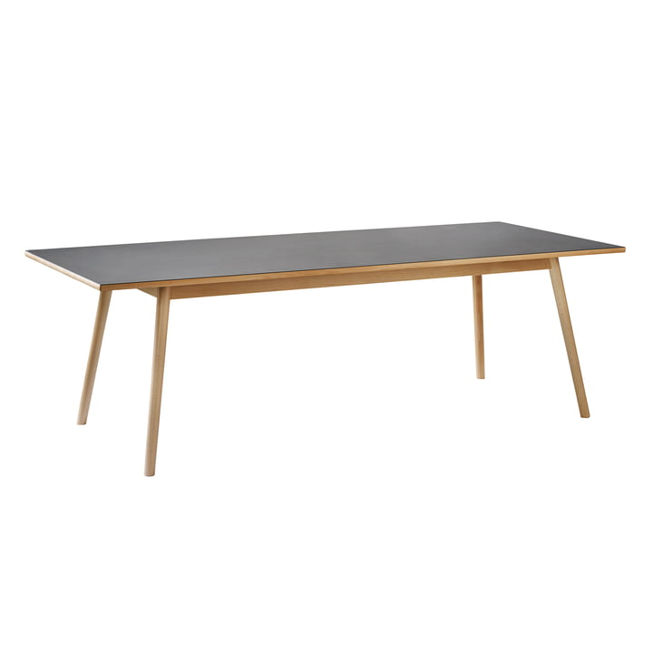C35C Dining table, 95 x 220 cm, oak matt lacquered / black linoleum by FDB Møbler
