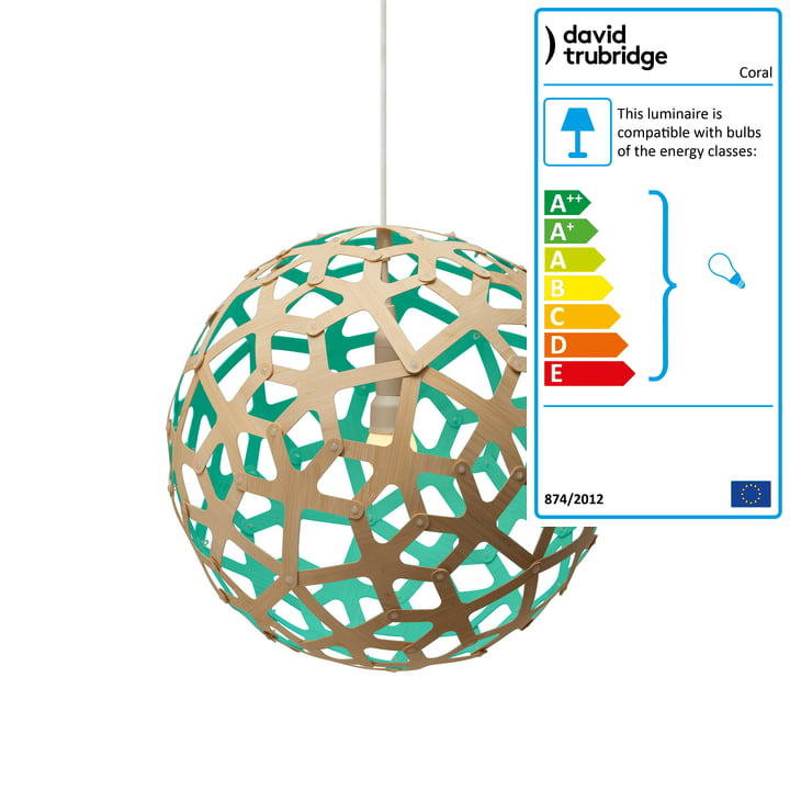 Coral pendant lamp Ø 40 cm by David Trubridge in natural/ aquagreen