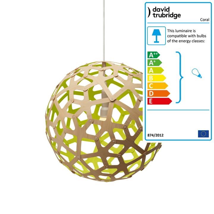 Coral pendant lamp Ø 40 cm by David Trubridge in nature/ lime green
