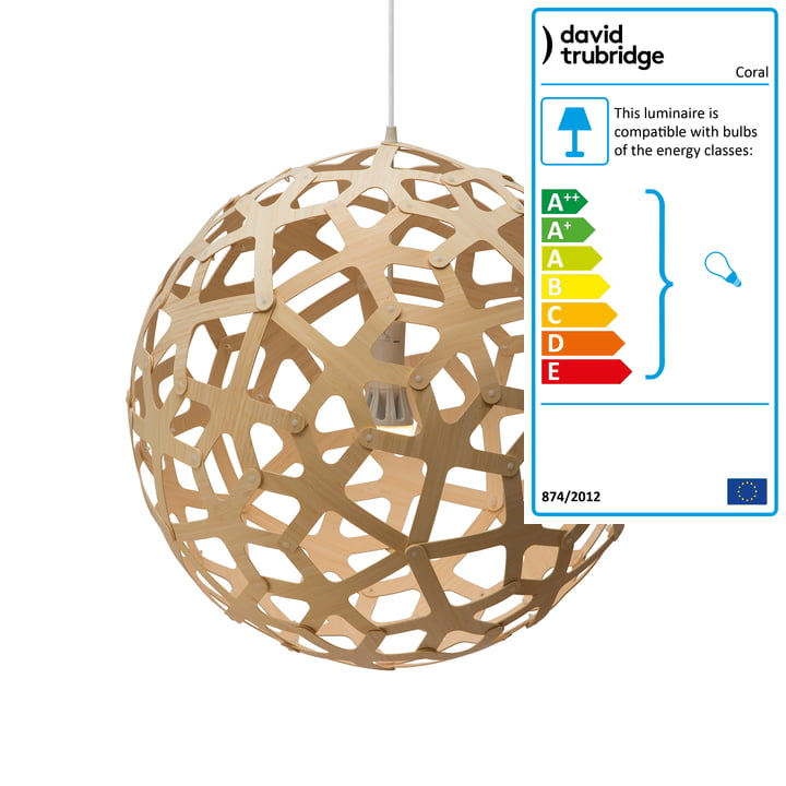 Coral pendant lamp Ø 60 cm by David Trubridge in natural on both sides