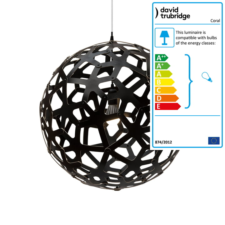 Coral pendant Ø 60 cm by David Trubridge in black on both sides