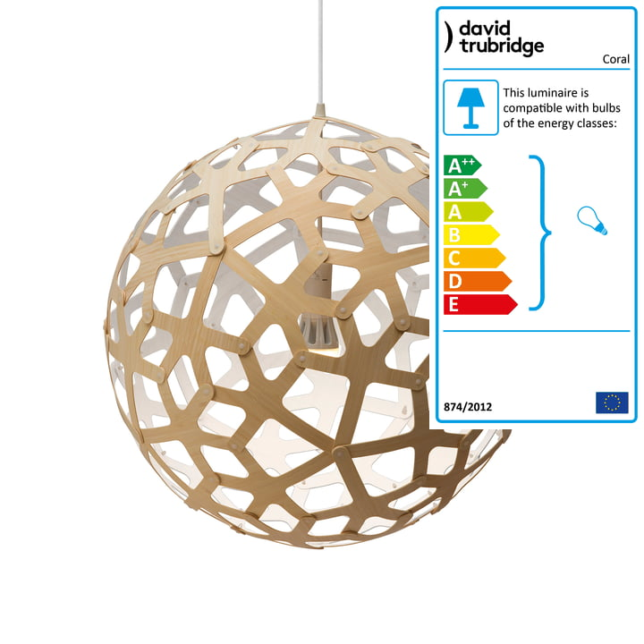 Coral pendant lamp Ø 60 cm by David Trubridge in nature/ white