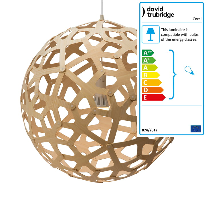 Coral pendant lamp Ø 80 cm by David Trubridge in caramel on both sides