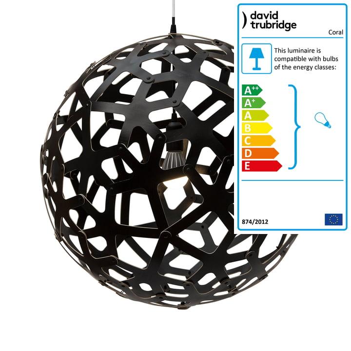 Coral pendant Ø 80 cm by David Trubridge in black on both sides