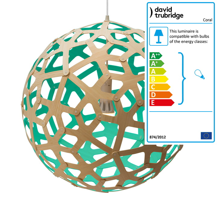 Coral pendant lamp Ø 80 cm by David Trubridge in nature/ aqua green