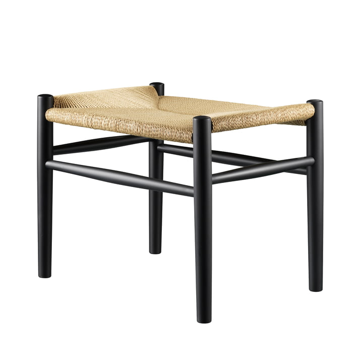 FDB Møbler - J83 Stool, beech black lacquered / natural weave