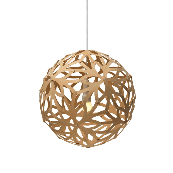 Floral pendant lamp Ø 40 cm by David Trubridge in nature on both sides