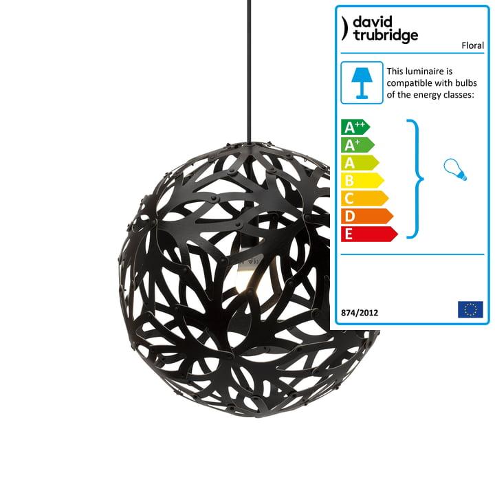 Floral pendant lamp Ø 40 cm by David Trubridge in black on both sides