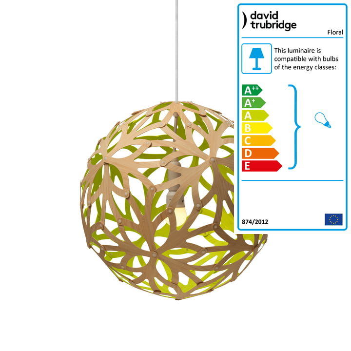 Floral pendant lamp Ø 40 cm by David Trubridge in nature/ lime green