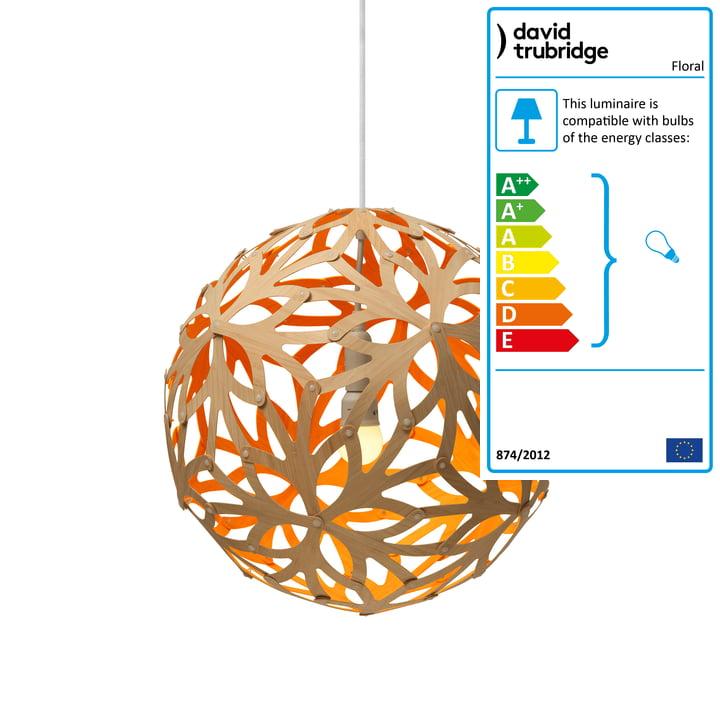 Floral pendant Ø 40 cm by David Trubridge in nature/ orange
