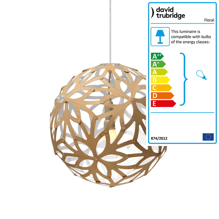 Floral pendant lamp Ø 40 cm by David Trubridge in nature/ white