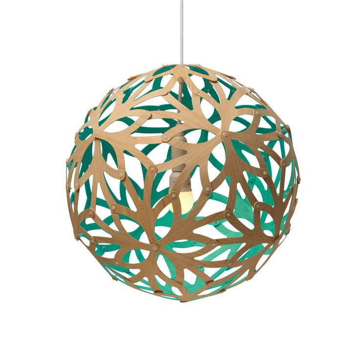 Floral pendant lamp Ø 60 cm by David Trubridge in nature/ aquagreen