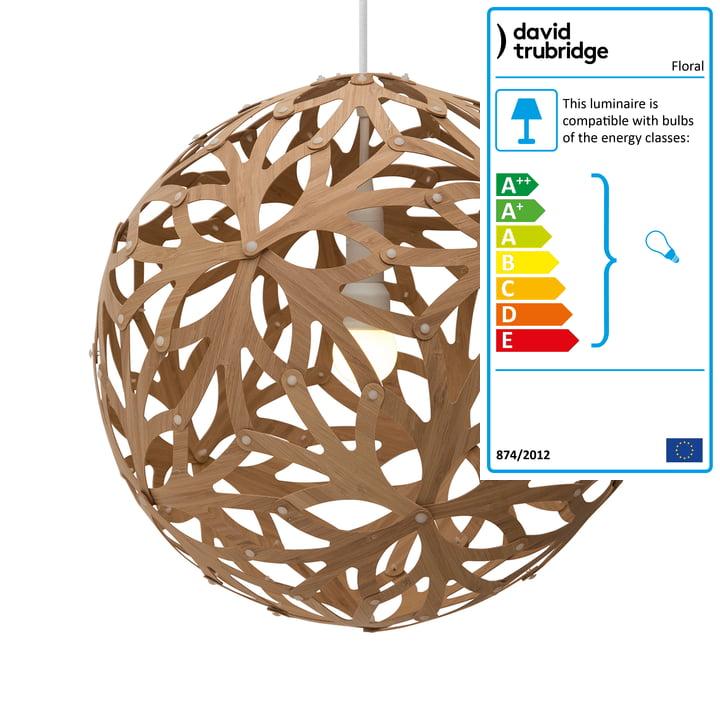 Floral pendant light Ø 80 cm by David Trubridge in caramel on both sides