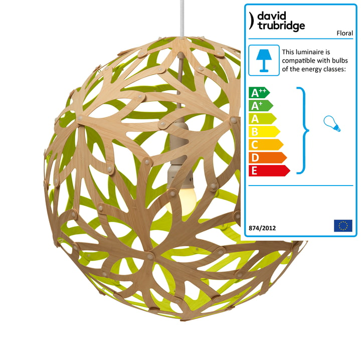 Floral pendant lamp Ø 80 cm by David Trubridge in nature/ lime green