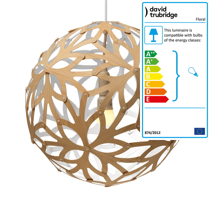 Floral pendant lamp Ø 80 cm by David Trubridge in nature/ white