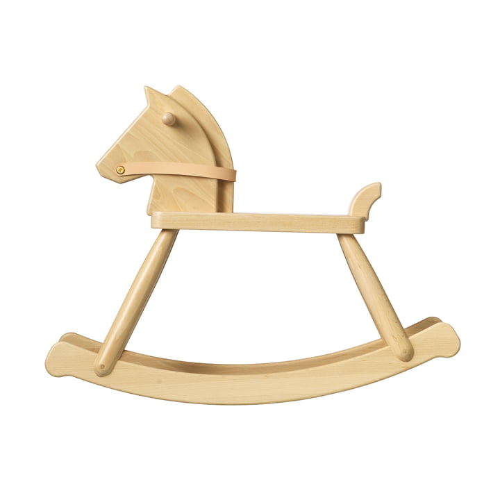 P12 rocking horse by FDB Møbler in beech clear lacquered / leather