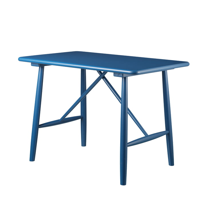 P10 children's table by FDB Møbler in birch blue lacquered