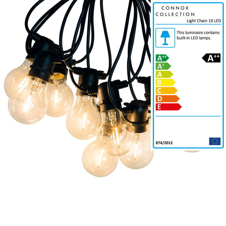 Connox Collection - LED light chain indoor/outdoor (IP 44), 10 lamps round, cable black