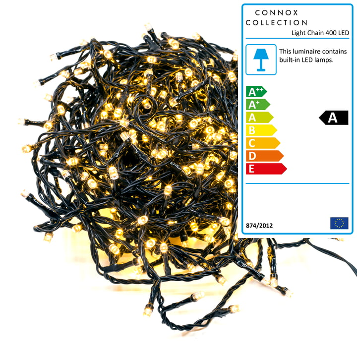 Connox Collection - Light chain indoor / outdoor (IP 44), 20 meter, 400 lights, black