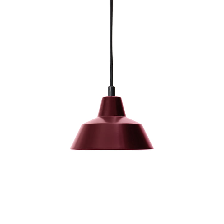 Workshop Lamp W1, wine red / black by Made by Hand