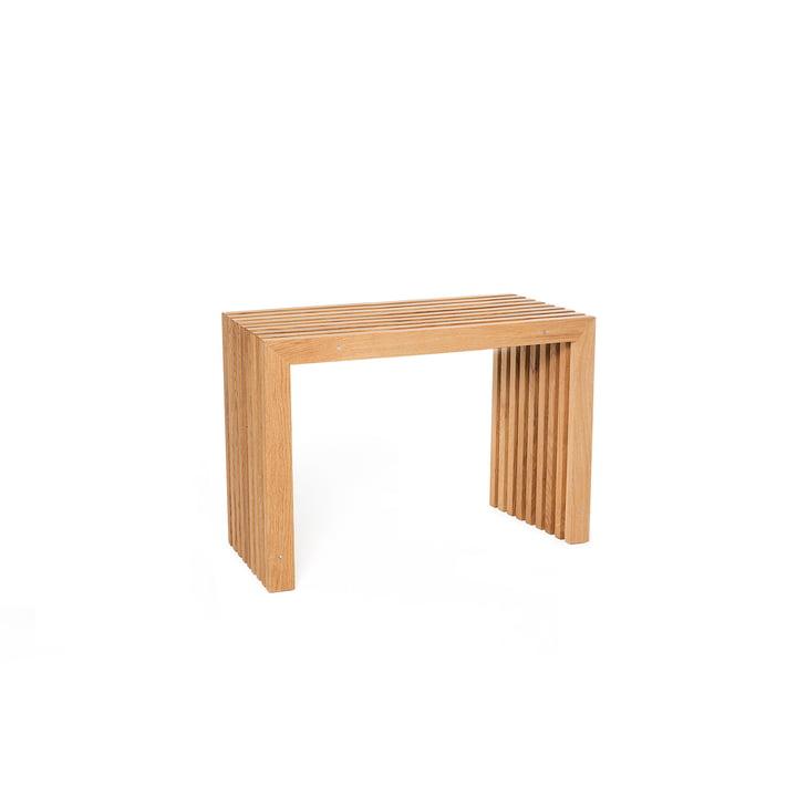 Bench made of oak slats, L 60 cm / oak light oiled of interior design