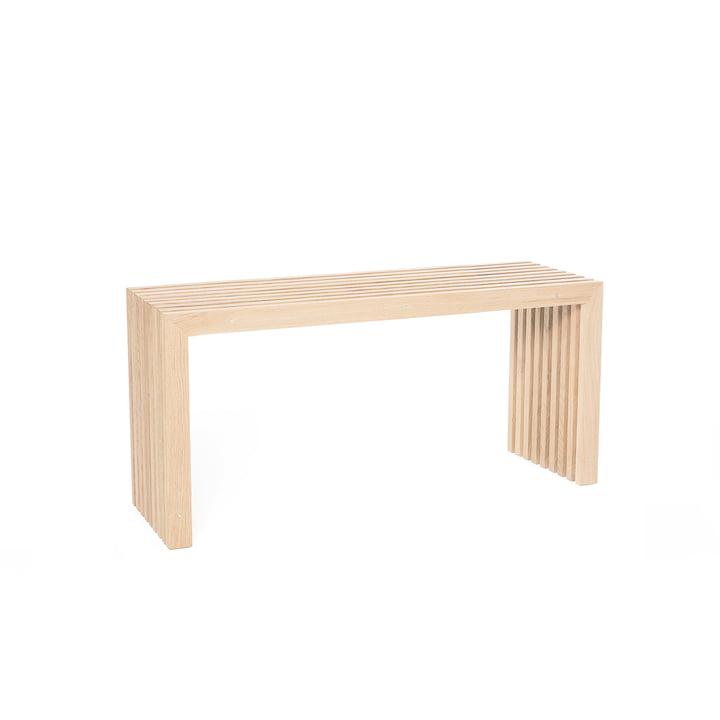 Bench made of oak slats, L 80 cm / natural oak of room design