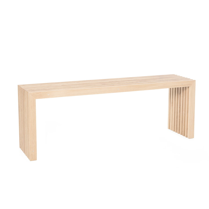 Bench made of oak slats, L 100 cm / oak natural of room design