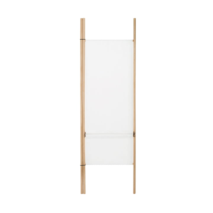 Paravent for storage ladder with 2 round bars, white of room design