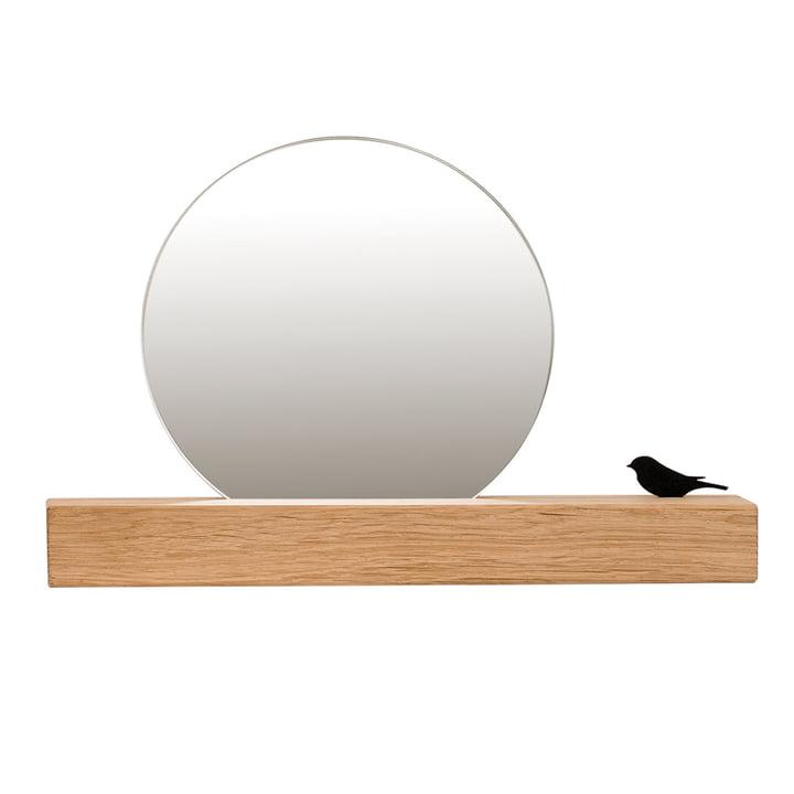 Mirror with bird Ø 25 cm, natural oak of room design