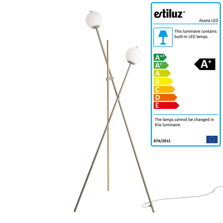 Asana LED floor lamp by Estiluz in mink / satingold