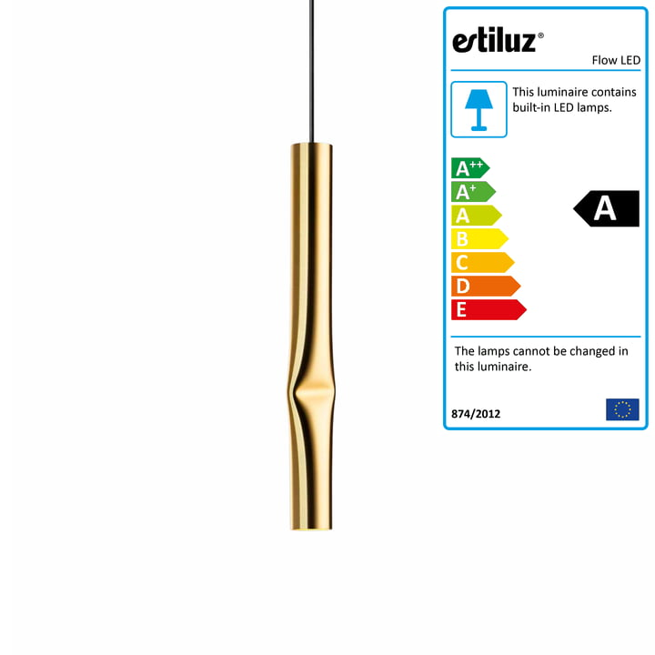 Flow LED pendant lamp from Estiluz in gold