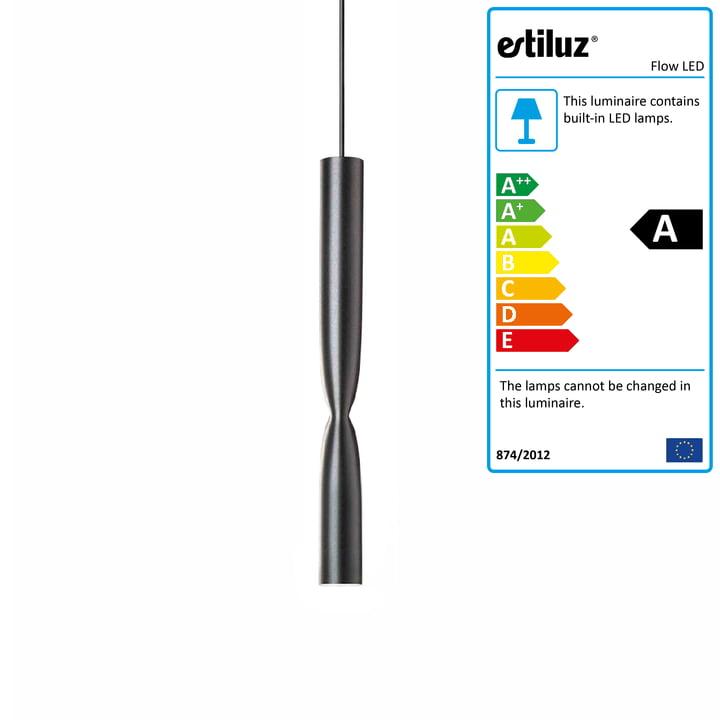 Flow LED pendant luminaire from Estiluz in black