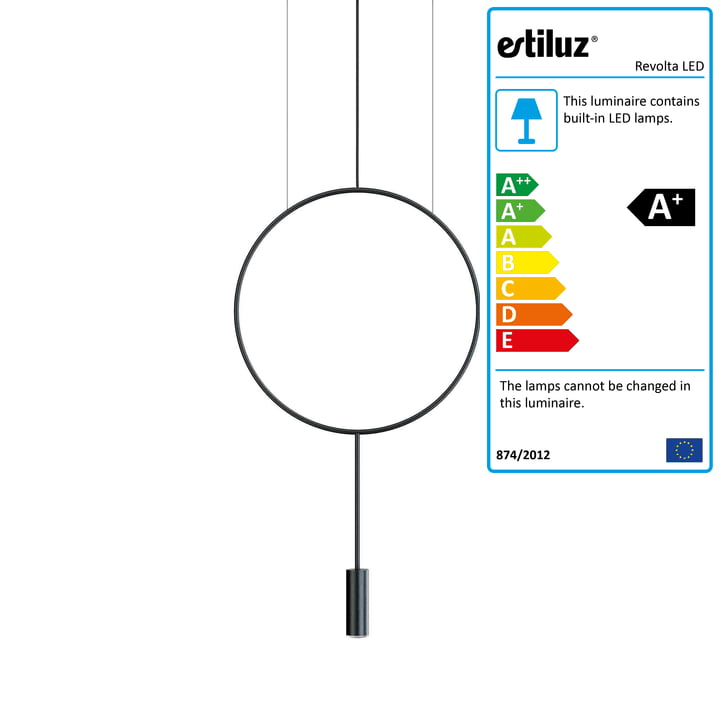 Revolta LED Pendant Light 2700K from Estiluz in black