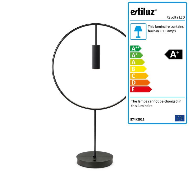 Revolta LED table lamp 2700K by Estiluz in black