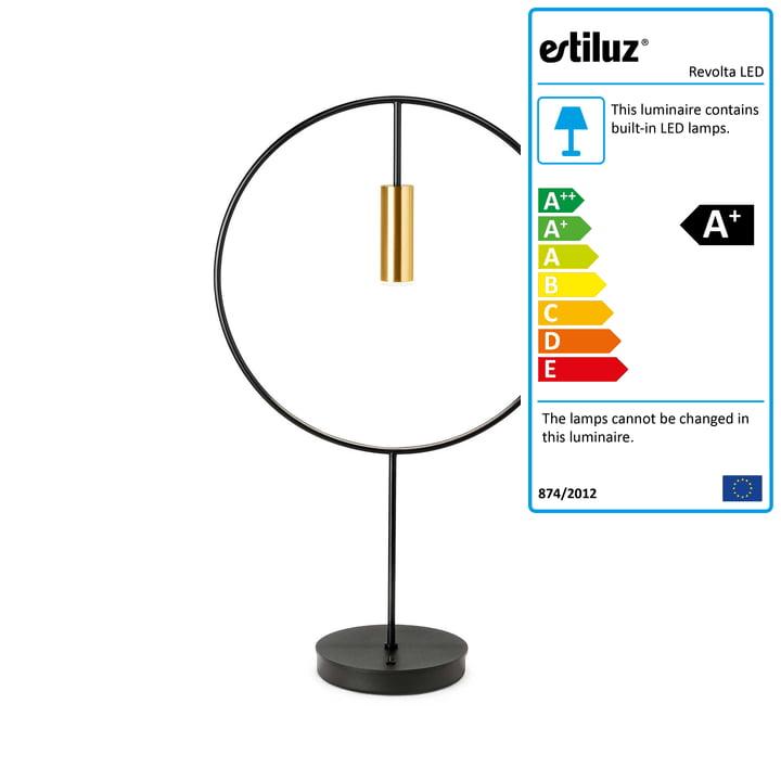 Revolta LED table lamp 2700K by Estiluz in black / gold