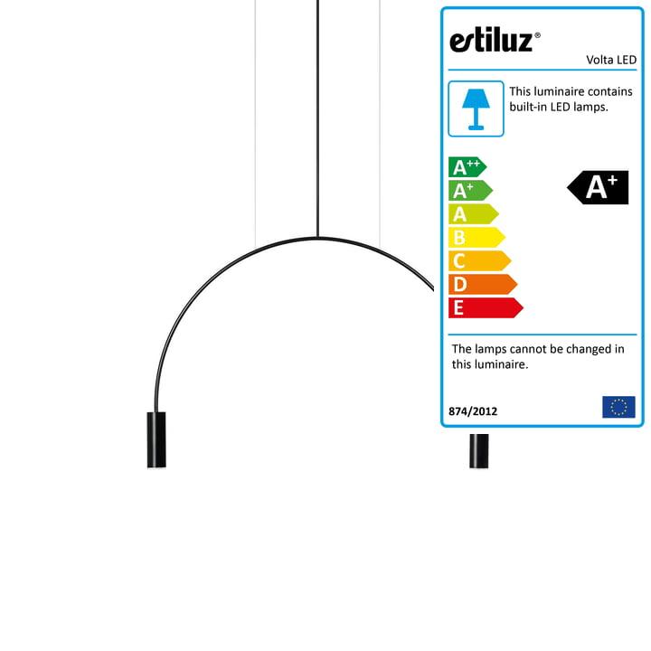 Volta LED Pendant Light 2700K from Estiluz in black