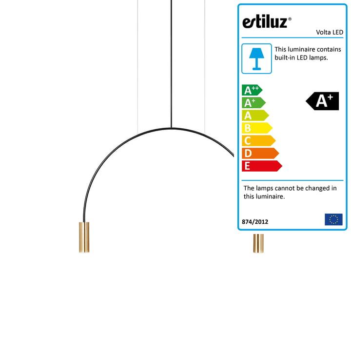 Volta LED pendant lamp 2700K from Estiluz in black / gold