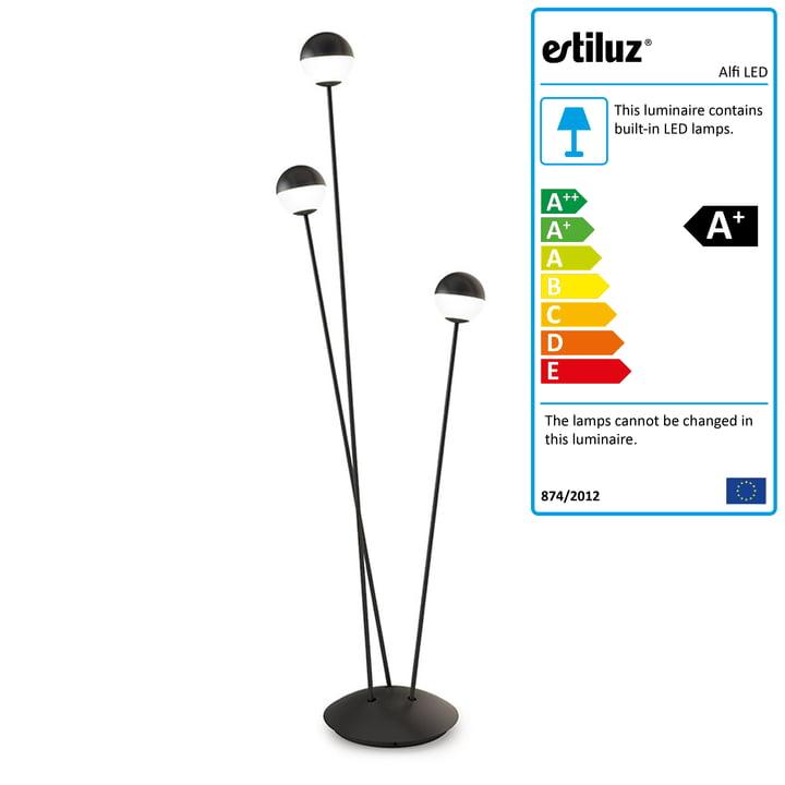 Alfi LED floor lamp by Estiluz in black