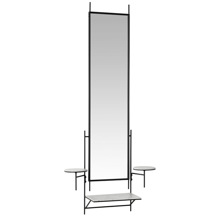 Paul McCobb wall mirror with shelf by Fritz Hansen in Carrara marble white