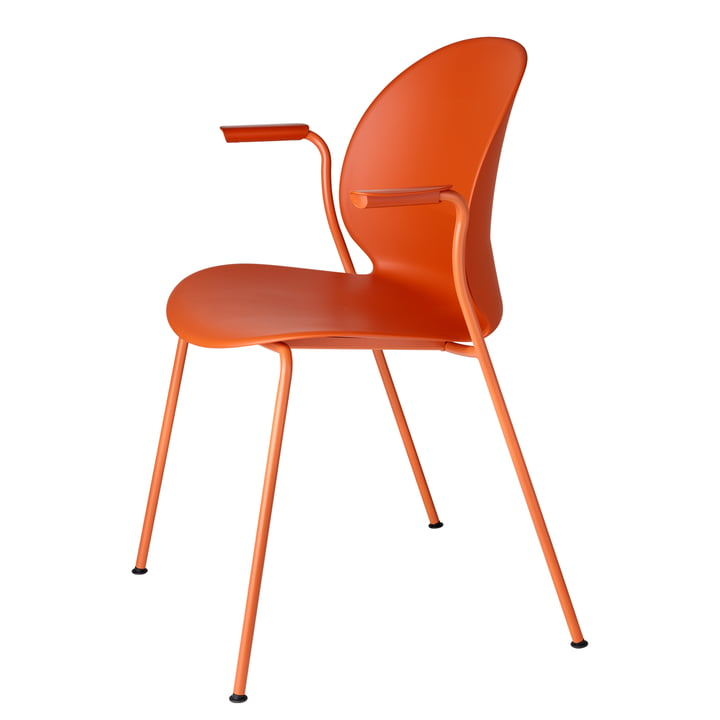 N02 Recycle chair with armrests by Fritz Hansen in dark orange