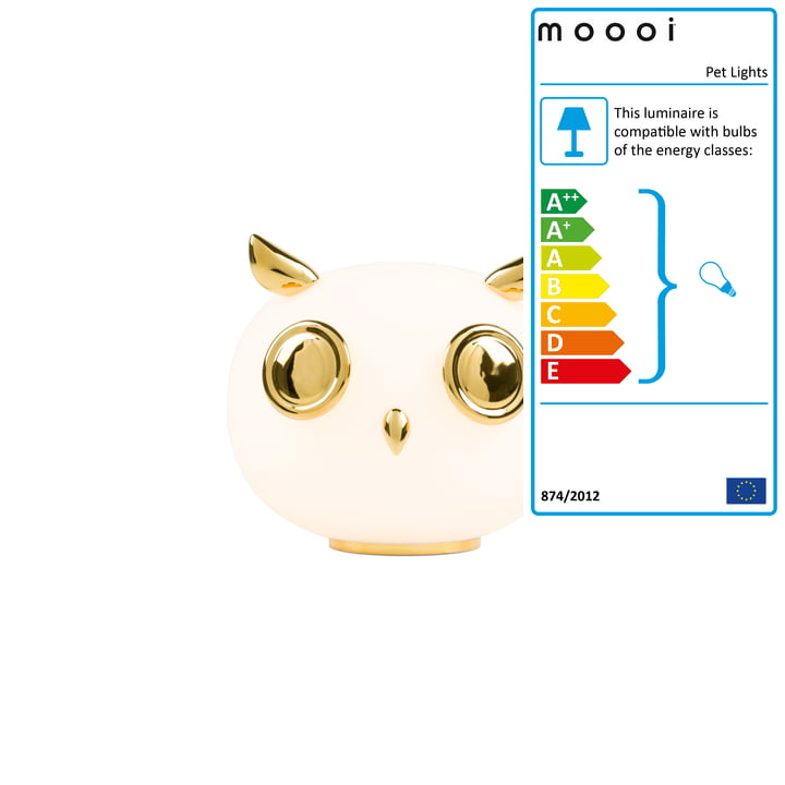 Pet Lights table lamp, Uhuh owl, white / gold by Moooi