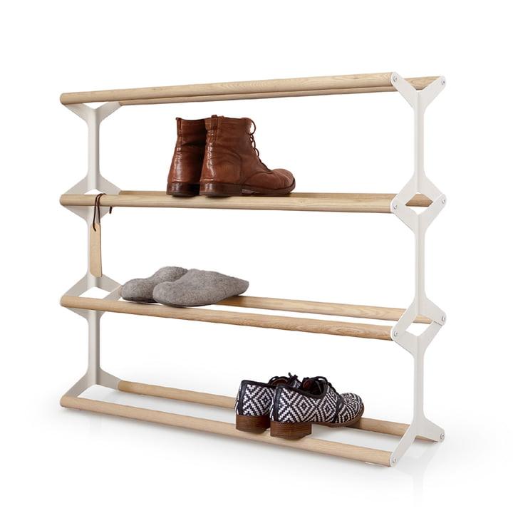 Shoe rack Stixx 4gang from vonbox in white / Ash
