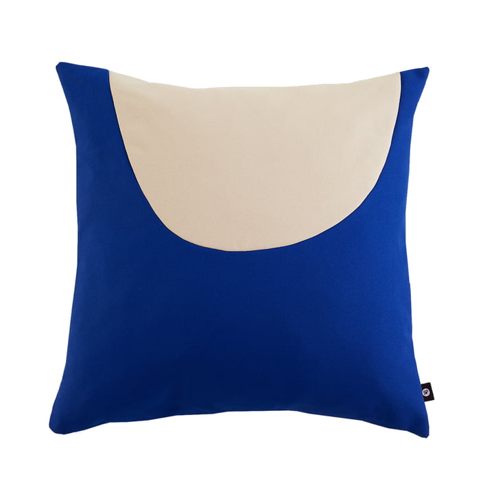 Waseki pillow XLarge 80 x 80 cm of objects of our days in royal blue / beige