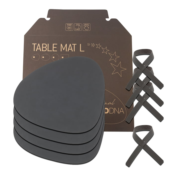 Gift set Curve L by LindDNA in Nupo anthracite (4 placemats + 4 napkin rings)