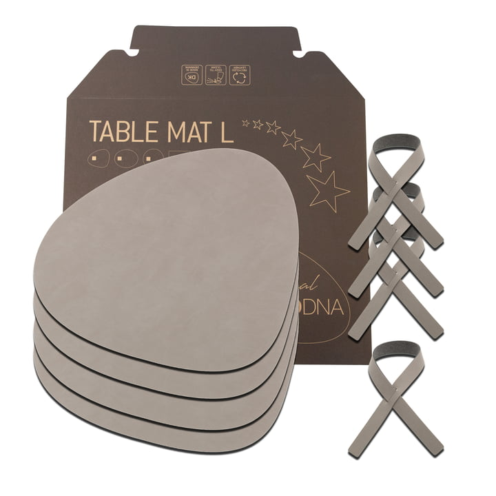 Gift set Curve L by LindDNA in Nupo light grey (4 placemats + 4 napkin rings)