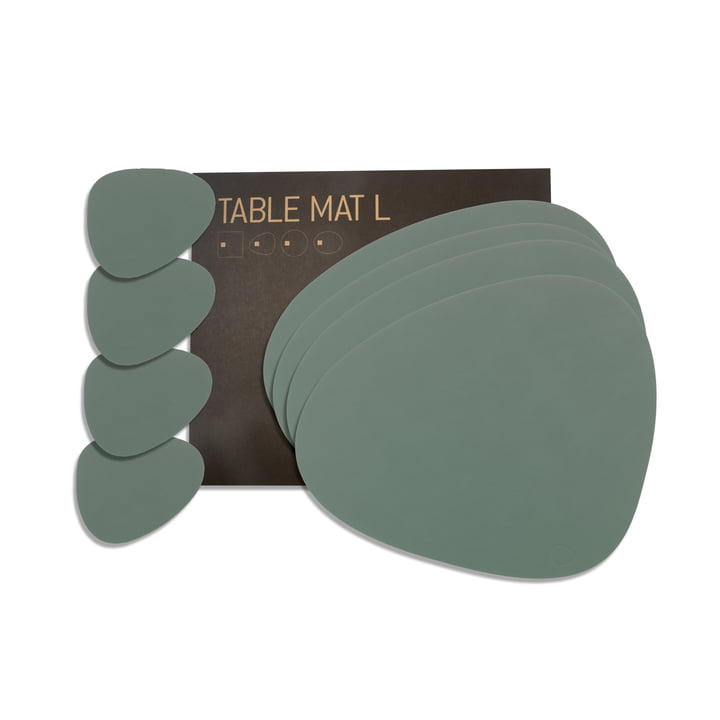 Gift set Curve L by LindDNA in Nupo pastel green (4 placemats + 4 glass coasters)
